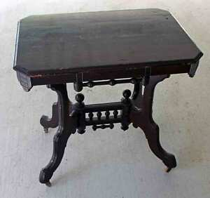 Antique Victorian Dark Wood Ornate Table Original On Wheels Local Pickup Only