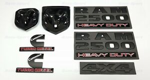 7pcs Black Dodge Ram 2500 Emblems Cummins Turbo Diesel 4x4 Grille Tailgate Badge