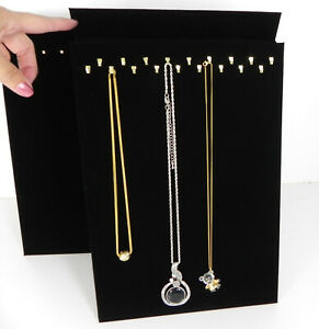 Two Black Velvet 18 Hook Chain Jewelry Easel Display Stand Displays Necklace