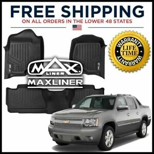 Maxliner All Weather 1st 2nd Row Floor Mat Set Black 2007 2013 Chevy Avalanche
