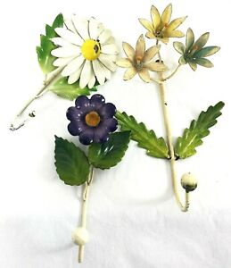 Vintage Tole Toleware Metal Hand Painted Wall Hook Hangers Set Of 3 Daisy
