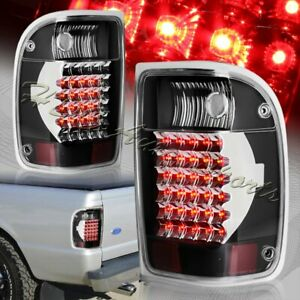 For 1993 2000 Ford Ranger Black Housing Clear Lens Led Rear Brake Tail Lights