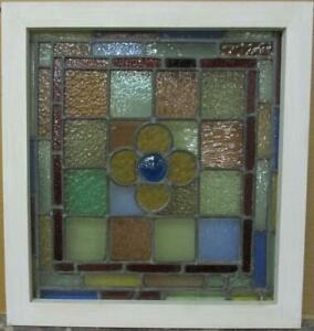 Victorian English Leaded Stained Glass Window Pretty Floral Bullseye 18 5 X 20