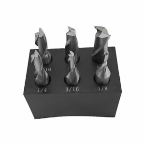 6 Piece 3 8 Shank 2 Flute High Speed Steel Single End Mill Set 1 8 To 1 2