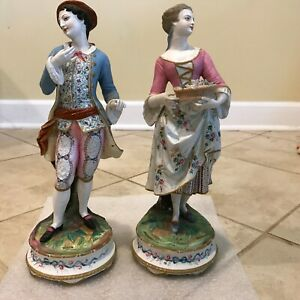 Pair Of Antique Chantilly Lady Gentleman Couple French Bisque Figurines