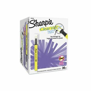 Sharpie Clear View Highlighter Stick Chisel Tip Assorted Fluorescent 36 Count
