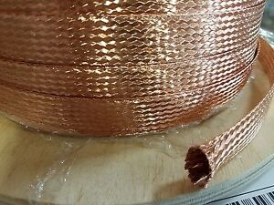 5 Feet 3 4 Braided Ground Strap Grounding Bare Copper Flat Braid Made In Usa