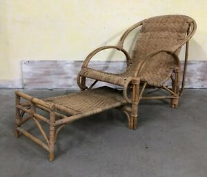 Vintage Adjustable Rattan Lounge Chair W Built In Footrest Mid Century Modern