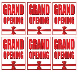 Grand Opening Store Window Display Paper Signs 18 w X 24 h 6 Pack