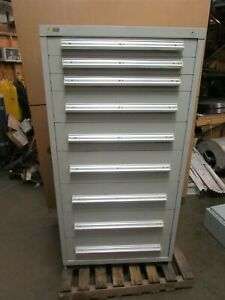 Stanley Vidmar 9 Drawer Heavy Duty Tool Parts Storage Cabinet 30 X 27 5 X 59