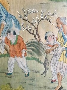 Antique Chinese Watercolor Painting On Silk With Old Fishermen And Kids Signed