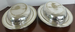 Matching Pair Of Well Used Middletown Silver Plate Serving Dishes W Covers