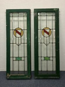Set Of Two Stunning Antique Vintage Stained Glass French Windows