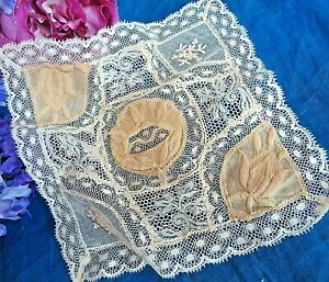 Antique Vintage Victorian Net Lace Handkerchief Embroidery Ecru 7 5 Square