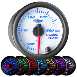 52mm Glowshift White Face Transmission Trans Temp Gauge W 7 Color Led Display