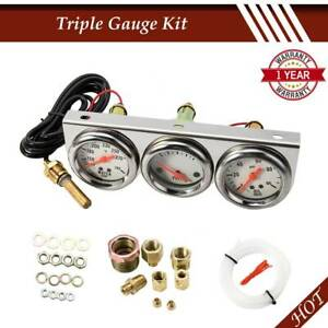 2 27 50mm Triple Gauge Kit 3 In1 Volt Meter Water Oil Pressure Gauge Tool Set
