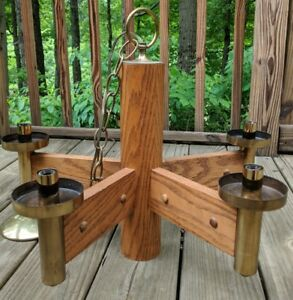 Wood And Burnished Brass 5 Arm Chandelier Mid Century Modern Wood Hanging Lamp