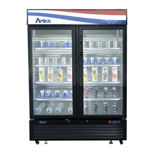 Atosa 2 Two Door Glass Soda Display Cooler Refrigerator Mcf8723gr Free Liftgate