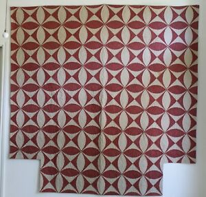 Antique Early 19th Century Museum Collector Turkey Red Joseph S Coat Quilt Exc