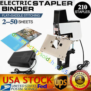 Electric Auto Flat And Saddle Stapler Binder Stitcher Book Binding Machine 110v