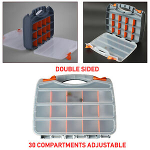 Double Sided Portable Small Parts Organizer Tool Box 30 Compartments Adjustable