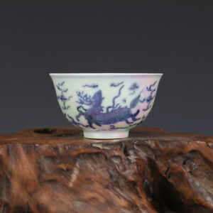 3 China Antique Porcelain Ming Chenghua Mark Pearl Glaze Blue White Kylin Cup
