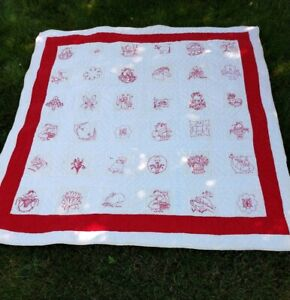 Vintage Antique Red Work Embroidered Quilt 36 Squares Horse Baskets Flowers Kids