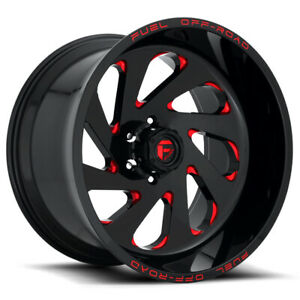 4 Fuel D638 Vortex 22x12 5x5 44mm Black Milled Red Wheels Rims 22 Inch