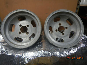 Pair Vintage 14x6 4 lug Slot Mag Wheels Chevy Ford Maverick Nova Falcon Comet Gm