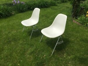 Eames Herman Miller Shell Chairs Parchment Pair White Fiberglass Many Available