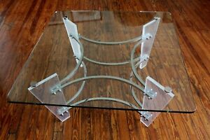 Vintage Charles Hollis Jones Chrome Lucite And Glass Coffee Table