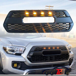 For 2016 2019 Tacoma Trd Pro Front Bumper Hood Led Grille Front Grill Matte Blk
