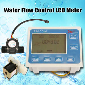 1 2 Water Diesel Fuel Oil Flow Meter Lcd Display flow Sensor Solenoid Valve