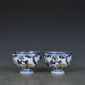 Chinese Old Porcelain Ming Xuande Mark Blue White Ganoderma Lucidum Cup A Pair