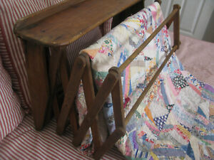 Vintage Primitive Expanding Wooden Wall Mounted Quilt Rack No Reserve