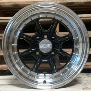 Xxr 002 5 Wheels 15x8 20 Black Deep Step Lip Rims 4x100 Stance Acura Integra Gsr