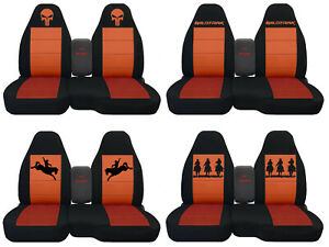 Fits Ford Ranger truck Car Seat Covers 60 40 console Not Included Blk orange