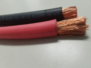 1 0 Awg Welding Cable Wire Copper Battery Solar Red 3 Feet Black 3 Feet