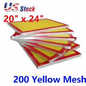 6pack 20 x24 Aluminum Screen Printing Screens Frame With 200 Yellow Mesh Count