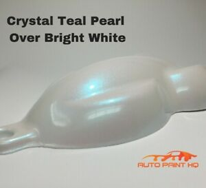 Tri Coat Teal Pearl Over Bright White Basecoat Quart Car Motorcycle Paint Kit