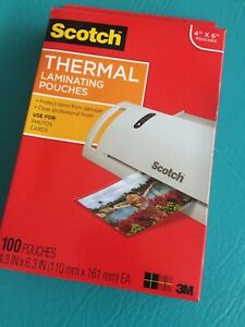 Scotch 3m Thermal Laminating Pouches 4 X 6 100 Tp5900 Free Shipping