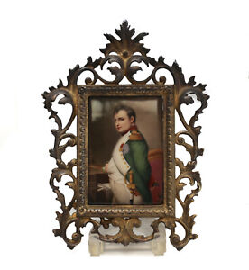 French Hand Painted Napoleon Bonaparte Porcelain Plaque C 1900 Bronze Frame