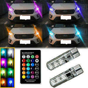Multi color Rgb Led Bulbs W rf Remote Control For Car Parking Lights 168 194 T10