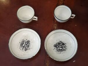 Pair Of English Creamware Cups And Saucers Circa 1825