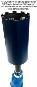 6 Wet Dry Core Bit With Adapter For Use On Hand Held Drill Or Rig Laser Welded