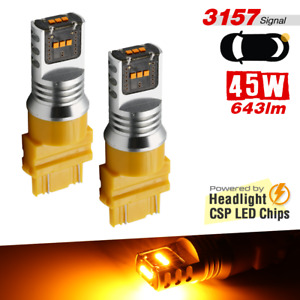 2x 3157 High Power Chip Amber Yellow 64 Led 643lm Rear Turn Signal Light Bulbs