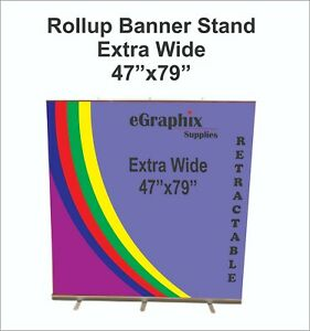 Extra Wide Retractable Rollup Banner Stand display 47 X 79 W Free Shipping
