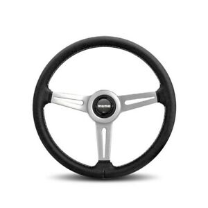 Momo Retro Silver Aluminum 360 Mm Diameter Steering Wheel P N Ret36bk2s