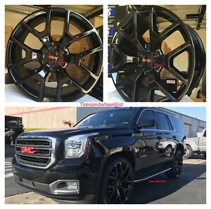 22 Wheels Tires Sierra Chevrolet Black Gmc Silverado Yukon Denali Suburban New