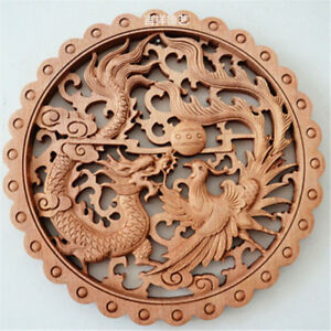 Art Chinese Hand Carved Long Feng Statue Camphor Wood Plate Wall Sculpture
